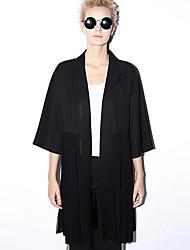 novo antes trincheira coatsolid pescoço v manga casual / diária simples primavera das mulheres / preto queda