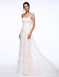 2017 Lanting bainha / coluna bride® vestido de casamento varrer / escova de trem do laço strapless com apliques / botão