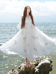 Ample Robe Femme Décontracté / Quotidien Chinoiserie,Broderie Col en V Mi-long Manches ¾ Blanc Polyester Printemps / Eté Taille Normale