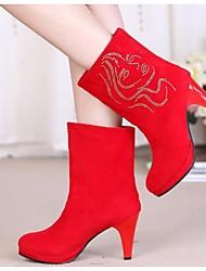 Красный-Женский-Для прогулок-Флис-На шпильке-Военные ботинки-Ботинки