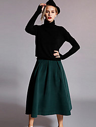 Damen Röcke - Einfach Knielang Kunstseide / Polyester Mikro-elastisch