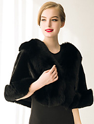 Women's Wrap Capelets Sleeveless Faux Fur Black / White Wedding / Party/Evening / Casual Shawl Collar