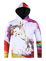 Men's Print Casual / Sport Pocket Hoodie Oil Painting Unicorn Print Long Sleeve Men 3d Hoodie