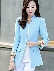 Damen Solide Einfach Arbeit Blazer,V-Ausschnitt Alle Saisons ¾-Arm Blau / Rosa Baumwolle / Polyester Mittel
