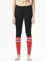 Pantalones de yoga Medias/Mallas Largas Transpirable Secado rápido Compresión Cómodo Cintura Media Eslático Ropa deportiva Rojo Negro