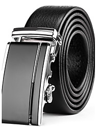 Mens Black Leather Waist Belt Suits Dress Silver Automatic Belt Buckle