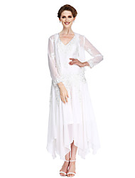 A-Line V-neck Asymmetrical Chiffon Mother of the Bride Dress with Beading Appliques by LAN TING BRIDE®