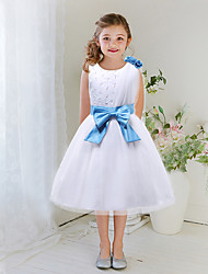 A-line Knee-length Flower Girl Dress - Satin / Tulle Sleeveless Jewel with Beading / Bow(s) / Flower(s)