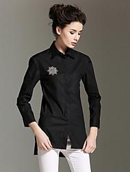 burdully sortir simples printemps / automne t-shirtsolid col de chemise à manches longues blanc moyen / noir de coton