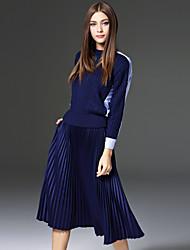 Damen Einfarbig Einfach Lässig/Alltäglich Set Rock,Rundhalsausschnitt Herbst / Winter Langarm Blau Wolle / Polyester Undurchsichtig