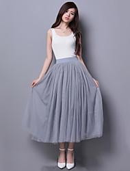 Jupes Aux femmes Midi simple Polyester Non Elastique