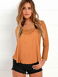 Damen Solide Einfach / Street Schick Ausgehen / Lässig/Alltäglich T-shirt,Rundhalsausschnitt Alle Saisons LangarmRosa / Beige / Braun /