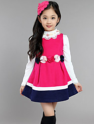 Girl's Casual/Daily Solid DressWool Spring / Fall Red / Yellow