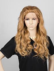 sans verser aucun enchevêtrement blond miel ondulée de couleur de cheveux humains pleine perruque de dentelle