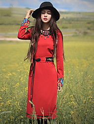 Our Story Going out Vintage Sheath DressEmbroidered Round Neck Maxi Long Sleeve Red Rayon / Polyester