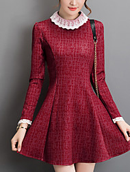 Women's Casual/Daily Slim Simple Sheath Dress,Patchwork Round Neck Above Knee Long Sleeve Blue / Red Cotton Fall