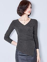 Tee-shirt Aux femmes,Couleur Pleine Décontracté / Quotidien / Grandes Tailles Chic de Rue Printemps / Automne Manches Longues Col en V