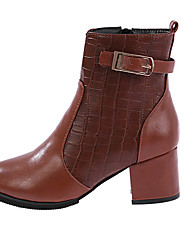 Women's Boots Fall / Winter Fashion Boots Leather Outdoor / Casual Low Heel Buckle Red / Tan Walking