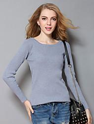 Damen Kurz Pullover-Lässig/Alltäglich Einfach Solide Grau Rundhalsausschnitt Langarm Acryl Frühling / Herbst Dünn Mikro-elastisch