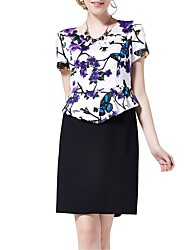 Women's Formal / Work Vintage Sheath DressFloral Round Neck Knee-length Short Sleeve White Polyester Summer