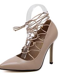 Damen-High Heels-Hochzeit Kleid Party & Festivität-Kunstleder-Stöckelabsatz-Komfort Neuheit Pumps-Schwarz Weiß Mandelfarben