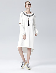 Heart Soul Women's Round Neck Long Sleeve Asymmetrical Dress-OW15-1078