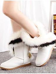 Women's Boots Fall Winter Snow Boots PU Outdoor Flat Heel Tassel Black Brown Green White