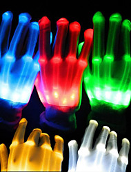 1pair Lighting LED Gloves Glow Colorful Skeleton Gloves For Party Decorations Dancing Luminous Toys