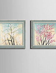 E-HOME® Framed Canvas Art, Full Tree Flowers Framed Canvas Print Set Of 2