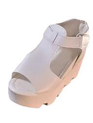 Damen-Sandalen-Lässig-Vlies-Keilabsatz-Sandalen-Schwarz / Gelb / Weiß / Grau