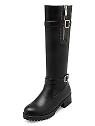Women's Boots Winter Motorcycle Boots / Round Toe Dress Low Heel Buckle / Zipper Black / Brown Others