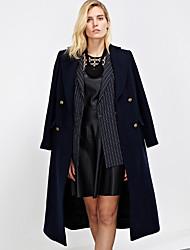 Damen Solide / Einfarbig Einfach Arbeit Mantel,Winter Steigendes Revers Langarm Blau Mittel Wolle / Polyester