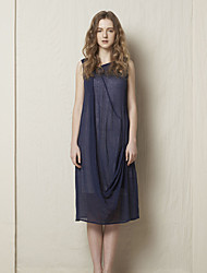 Rizhuo Women's Casual/Daily Simple Shift DressSolid Asymmetrical Knee-length Sleeveless Blue Cotton / Linen Summer