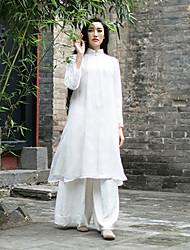 Courte Robe Femme Décontracté / Quotidien Vintage,Couleur Pleine Mao Mi-long Manches Longues Blanc Autres Automne / Hiver Taille Normale