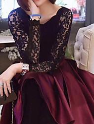 Vestido,Formal Decote Redondo Vermelho / Preto Verão Média