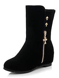 Damen-Stiefel-Lässig-PU-Flacher Absatz-Modische Stiefel-Schwarz
