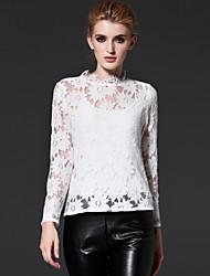 mulheres frmz de sair meio sofisticado primavera / outono t-shirtsolid gola manga longa de algodão preto / nylon
