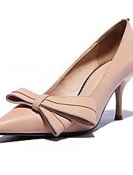 Women's Heels PU Spring Fall Casual Stiletto Heel Black Almond 3in-3 3/4in
