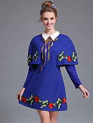 Feminino Evasê / Bainha Vestido,Casual / Festa/Coquetel Vintage / Sofisticado Color Block / Bordado Colarinho de Camisa Acima do Joelho
