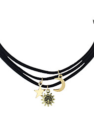 Fashion Moon Sun Star Pendant Black Pu Suede Choker Necklaces