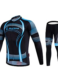 MALCIKLO® Cycling Jersey with Tights Men's Long Sleeve BikeBreathable / Quick Dry / Front Zipper / Wearable / High Breathability