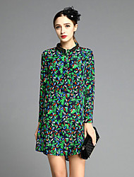 JOJ  Women's Going out Sheath DressFloral Stand Long Sleeve Green Silk Spring