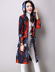 Women's Casual/Daily Ethnic Print Fashion Coat Print Hooded Long Sleeve Fall / Winter Blue Cotton / Linen Quilted Thick