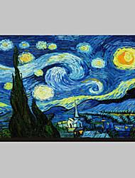 Звездная ночь c1889 Винсента Ван Гога Известные натянутым холстом для печати