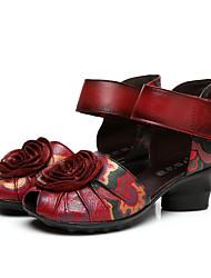 Women's Heels Summer Platform Leather Casual Chunky Heel Platform Flower Black Red Other