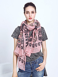 Women Classic Skull Pattern  Casual Chiffon Rectangle Print  Seaside Resort Sunscreen Scarf Shawl Beach Towel