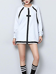 Women's Casual/Daily Simple Long HoodiesColor Block White / Black Round Neck Long Sleeve Cotton