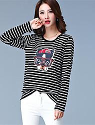 Damen Gestreift / Druck Einfach / Aktiv Ausgehen / Lässig/Alltäglich T-shirt,Rundhalsausschnitt Frühling / Herbst Langarm Schwarz