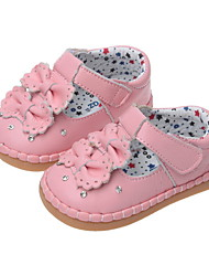 Sandals Spring Summer Fall Winter Comfort Light Up Shoes Leather Outdoor Flat Heel Bowknot Pink White Peach Walking