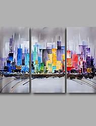 Pintada a mano Abstracto Paisaje Pinturas de óleo,Modern Tres Paneles Lienzos Pintura al óleo pintada a colgar For Decoración hogareña